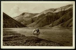 Ref 1289 - Early Ethnic Postcard - Jokulgil I Tortajokli Iceland - Man On Horseback Crossing River - Iceland