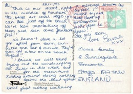 Ref 1290 - 1997 Dominica Postcard - DCS Servic Courier Label - Germany Deutsche Post AG - Dominican Republic