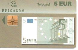 Télécarte Belgique   - Billet 5 Euros - Monnaie Money Pièce Numismatique Bank Banque  Phonecard  (G 739) - Francobolli & Monete