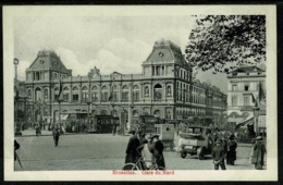 Ref 1290 - Early Postcard - Cars &Trams At Gare De Nord Bruxelles Brussels Belgium - Transport (rail) - Stations