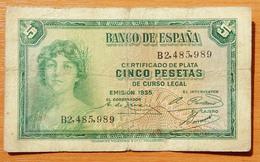 Spain 5 Pesetas 1935 - [ 1] …-1931 : Eerste Biljeten (Banco De España)