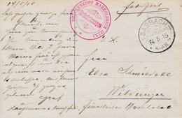 CP Avec Cachet BRÜCKENKOPF MARKOLSHEIM (ELS) [rouge] Obl SASBACH (KAISERSTÜHL) Du 14.5.15 Pour Wilingen - Marcophilie (Lettres)