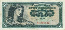 Billet Yougoslavie 5 Dinars Année 1965 77b VF - Yougoslavie