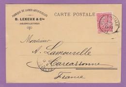 FABRIQUE DE LAINES ARTIFICIELLES,JUSLENVILLE-THEUX.CARTE POSTALE POUR CARCASSONNE. - 1893-1900 Schmaler Bart