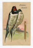 Oiseaux . Hirondelles Bonne Année .  Birds .Swallows Happy New Year   Gaufré / Embossed - Oiseaux