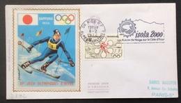 D392 «Isola 2000 Un Balcon De Neige Sur La Côte D'Azur» Premier Jour Jeux Olympiques Sapporo 1705 Nice 8/2/1972 - Postmark Collection (Covers)
