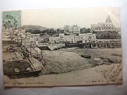 Carte Postale Le Tréport (76) Le Port Et L'Eglise (CPA Dos Non Divisé Noir Et Blanc 1905 Timbre 5 Centimes ) - Le Treport