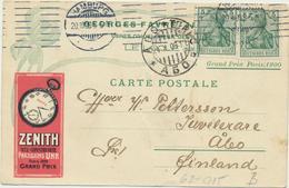 62-915 Deutschland Germany Postcard Uhr Clock Zenith From Hamburg To Finland 1909 - Vari