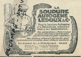 Ancienne Publicité (1921) : La Soudure Autogène LEDOUX & Cie, Avenue De La République, Paris - Publicités
