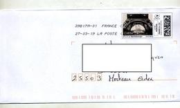 Lettre Flamme Chiffree Sous Code Roc Sur Timbre En Ligne Tour Eiffel - Postmark Collection (Covers)