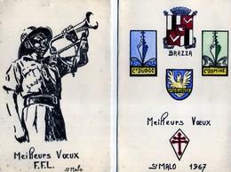 CARTE DE VOEUX   ST MALO FFL  2e DB 1967  CARTE DE VOEUX AUTOGRAPHE SOUS PREFET  + PARAME - Saint Malo