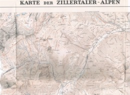 001 Karte Zillertaler Alpen Alpenverein Beilage Zeitschrift 1930 !!! - Mapas Geográficas