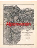 022 Karte Rosengarten-Gruppe Alpenverein Beilage Zeitschrift 1884 !!! - Mapas Geográficas