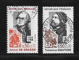 France Timbres De 1972 Personnages Célèbres N°1727 Et 1728 Oblitérés - Usados