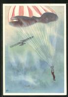 Künstler-AK Schweizer Fallschirmspringer Zwischen Himmel Und Erde - Paracadutismo
