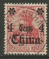 German Offices China - 1905 Germania Overprint  & Surcharge 4c/10pf Used  Sc 39 - Offices: China