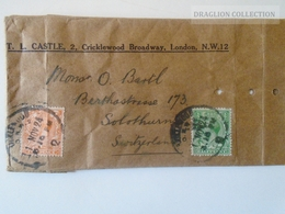 DEL005.39 GREAT BRITAIN -   Preprinted Shipping Bag 1924  Cancel Cricklewood Broadway London  To Solothurn  Switzerland - 1902-1951 (Könige)