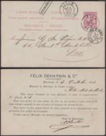 """Belgique - EP 10c Obl. Ambulant """"Est 4 """" + Charleroi Encadré Vers Lille 3/10/1894 (DD) DC3042 - Stamped Stationery"""