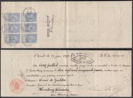 Belgique - COB 60 Bloc De 6 Sur Bordereau De St Trond 1898  (DD) DC3046 - 1893-1900 Thin Beard
