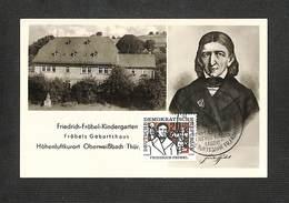 ALLEMAGNE - DDR - Carte Maximum 1957 - FRIEDRICH FROBEL - DDR
