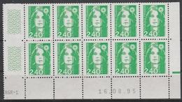 2820 2.40 F. BRIAT Vert - DEMI BAS De FEUILLE X 10 - RGR 1  Du 16.08.95 Avec GUILLOCHIS + RE à DROITE - 1989-96 Maríanne Du Bicentenaire