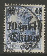 German Offices China - 1905 Germania Overprint  & Surcharge 10c/20pf Used  Sc 40 - Offices: China