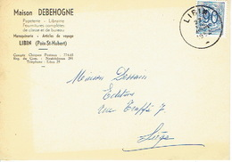CP Publicitaire - LIBIN (POIX-ST-HUBERT) 1952 - Maison DEBEHOGNE - Papeterie - Librairie - Maroquinerie... - Libin