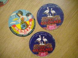 Lot 3 étiquettes Fromage Vosges Et Territoire Belfort Cigognes , Fermière Folklore MOUGIN-BORON Et SAFR Xertigny - Cheese