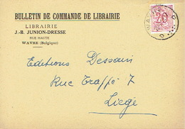 CP Publicitaire WAVRE 1952 J. B. JUNION-DRESSE - Librairie - Wavre