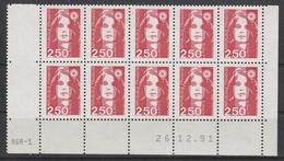 2715 2.50F.  BRIAT ROUGE - BAS De FEUILLES X 20 - RGR 1  Du 26.12.91 - 1989-96 Maríanne Du Bicentenaire