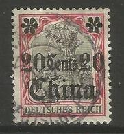 German Offices China - 1905 Germania Overprint  & Surcharge 20c/40pf Used  Sc 41 - Offices: China