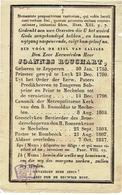 ZEPPEREN / TONGEREN / MECHELEN / HOMBEEK - Doodsprentje E.H. Joannes ROUCHART - °1758 En +1837 - Images Religieuses