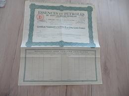 Action Certificat Action B 500 Francs Essences Et Pétroles De Saint Julien De Peyrolas - Pétrole