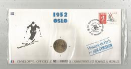 """Enveloppe Officielle """"timbre Médaille"""" Premier Jour,J.O. D'hiver ,1952 , OSLO ,4 Scans,frais Fr : 1.95 E - Professionnels / De Société"""