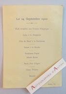 Menu 24 Septembre 1900 - Imprimé Par Le Graveur Stern - Menú