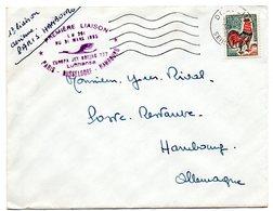 AVION = PARIS AVIATION 1965 = CACHET OVALE + Tampon PREMIERE LIAISON AF LH 261 PARIS DUSSELDORF HAMBOURG Par BOEING 727 - Premiers Vols