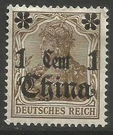 German Offices China - 1906 Germania Overprint  & Surcharge 1c/3pf MH *  Sc 47 - Offices: China