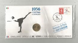 """Enveloppe Officielle """"timbre Médaille"""" Premier Jour,J.O. D'hiver ,1956 , Cortina D'Ampezzo ,4 Scans,frais Fr : 1.95 E - Professionnels / De Société"""