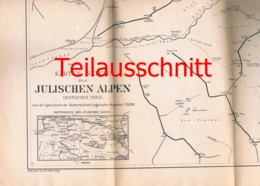 099 Slowenien Karte Julische Alpen Alpenverein Beilage Zeitschrift 1883 !!! - Mapas Geográficas