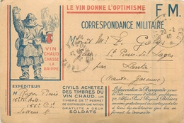 MILITARIA  Franchise Militaire  Le Vin Donne L'optimisme    2scans - Documents