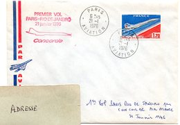 AVION = PARIS AVIATION 1976 = CACHET ROND + Tampon CONCORDE PREMIER VOL / RIO DE JANEIRO AIR FRANCE - Premiers Vols