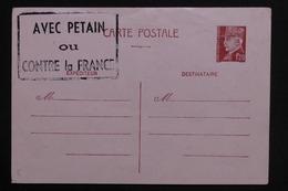 """FRANCE - Entier Postal Type Pétain Non Utilisé , Cachet De Propagande """" Avec Pétain Ou Contre La France """" - L 28876 - Cartes Postales Types Et TSC (avant 1995)"""