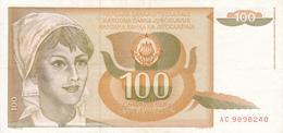 Billet Yougoslavie 100 Dinars Année 1990 105 AUNC - Yougoslavie