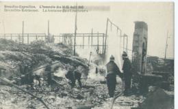 """Bruxelles-Exposition - L'Incendie Des 14-15 Août 1910 - Bruxelles Kermesse - La Fontaine Du """"Cracheur"""" - Expositions Universelles"""