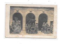 Carte Photo Centre SAPEURS POMPIERS, Voitures Anciennes, - Firemen
