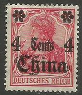 German Offices China - 1911 Germania Overprint  & Surcharge 4c/10pf MH *  Sc 49 - Offices: China