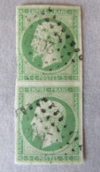 France - Paire Verticale Timbres Napoléon III 5c YT N°12 - Oblitération PC 2089 (?) - 1853-1860 Napoléon III