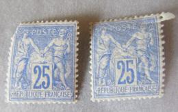 France - 2 Timbres Type Sage 25c Neufs* YT N°78 Avec Gomme D'origine - 1876-1898 Sage (Type II)