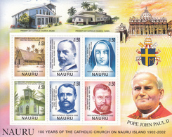 2002  Nauru  Catholic Church Pope John Paul II Souvenir Sheet MNH Complete - Nauru