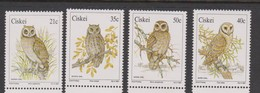 South Africa-Ciskei Scott 163-166 1991 Owls, Mint Never Hinged - Ciskei